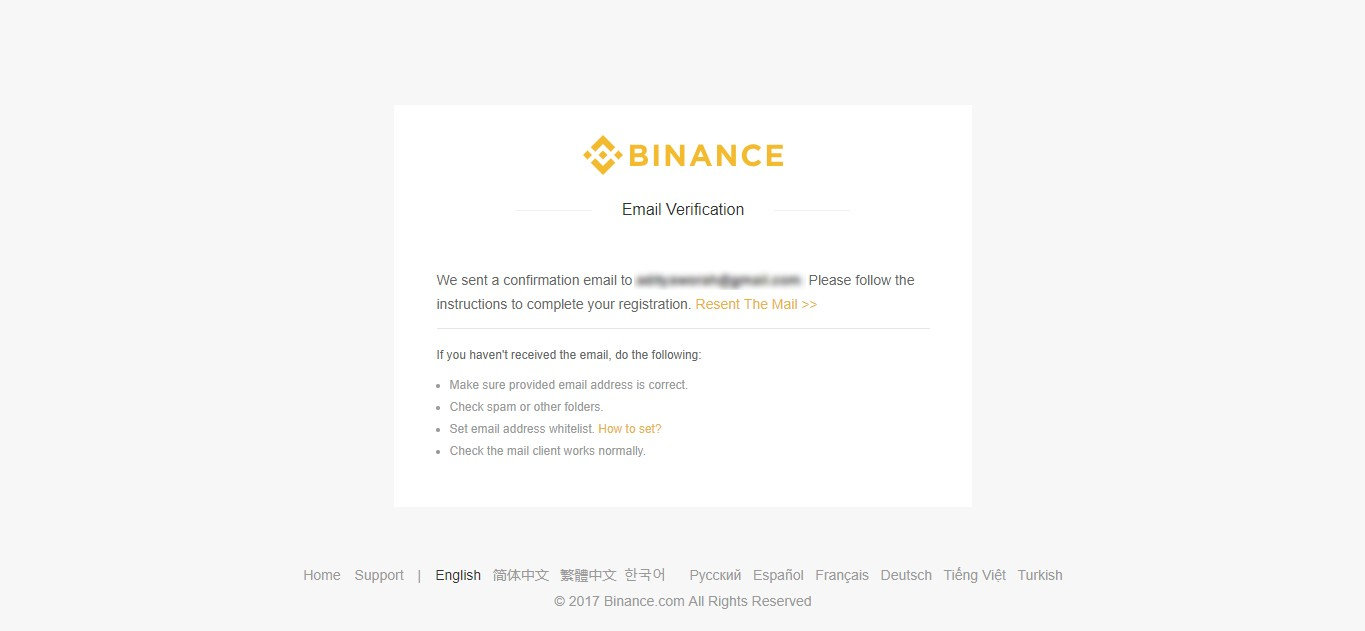 Binance Email Verification