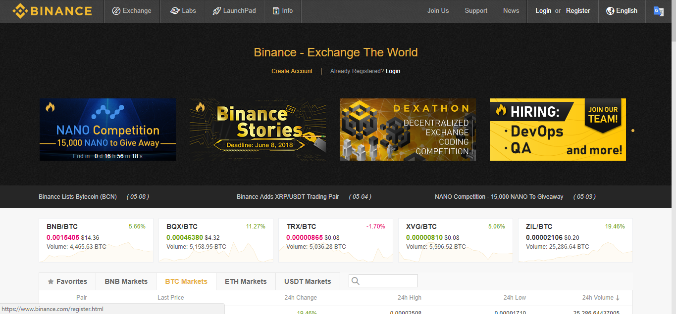 Binance Exchange Homepage