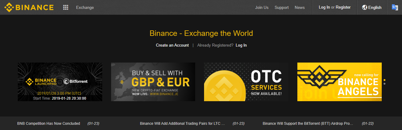Binance Homepage