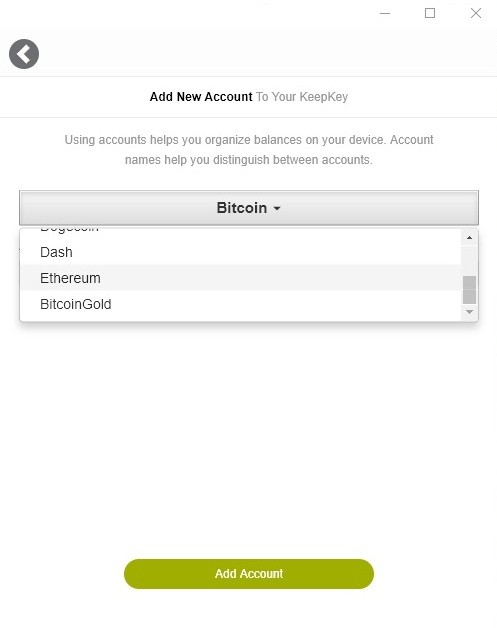Select account to add in Keepkey wallet