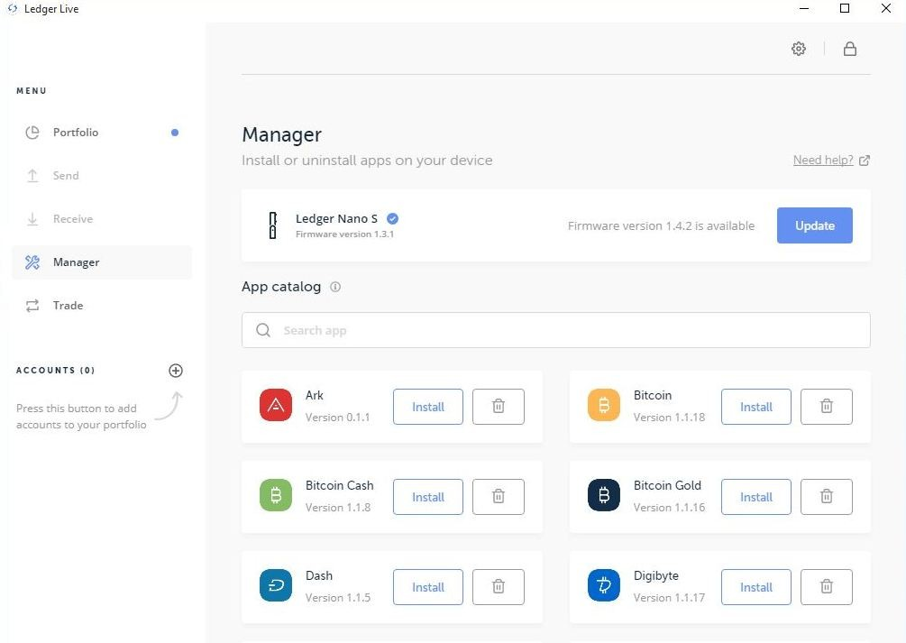 Ledger Live Manager tab