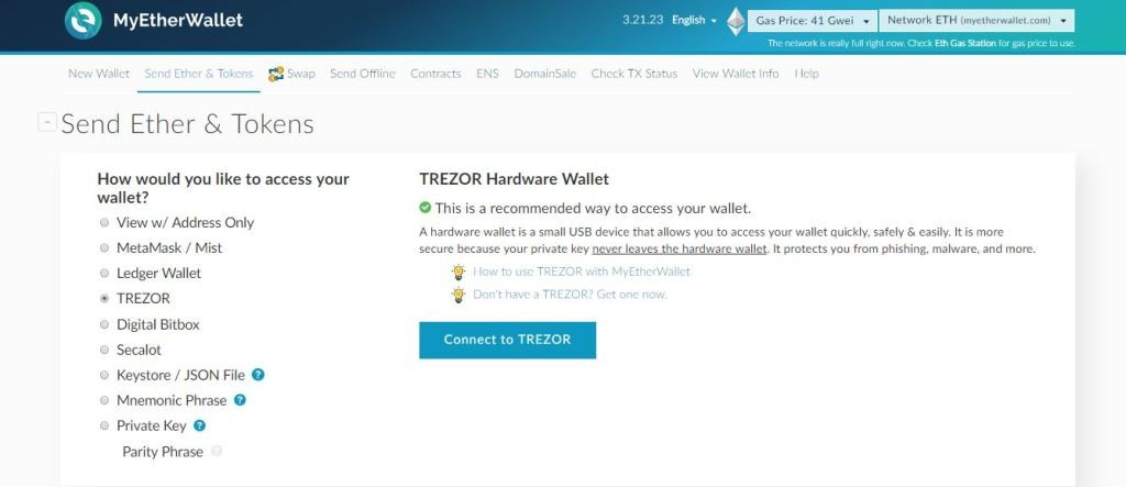Connet to Trezor Wallet