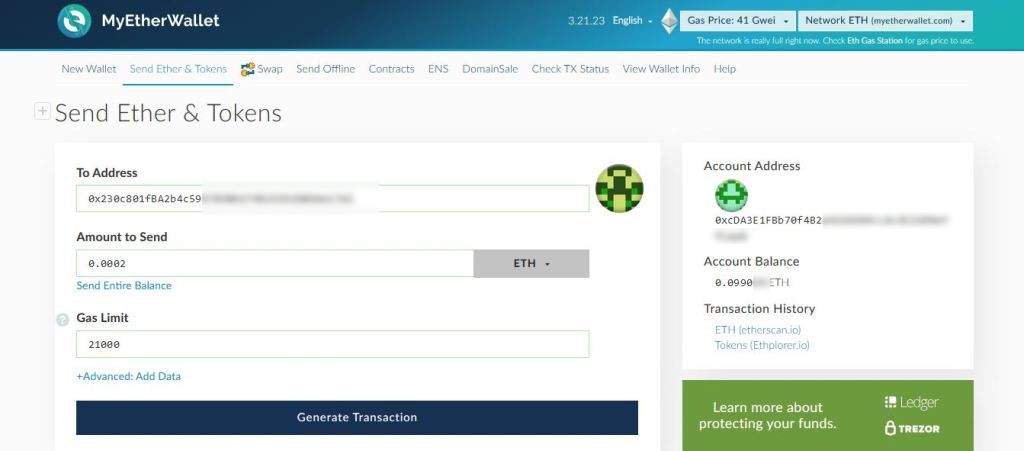 Generate Ether Transaction